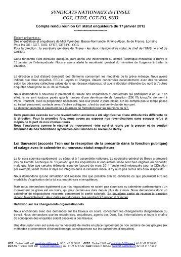 CR GT du 17 janvier 2012 - cgt-insee