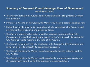 a report on cities that employ a council manager form of government Thornton is a home rule city operating under the council - manager form of government the city council consists of the mayor, elected at large, and eight council members, two elected from each of the city's four wards.
