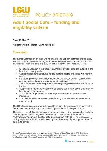 funding and eligibility criteria - LGiU