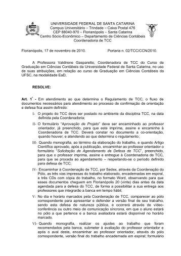 Portaria TCC 02 - CCN - Departamento de Ciências Contábeis