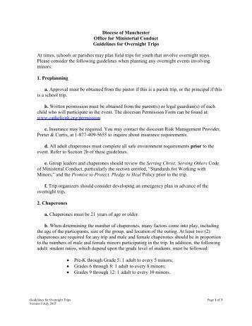 Diocese of Manchester Guidelines for Overnight Trips At times ...