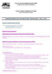 PROGRAMME ENSEIGNEMENTS 2ème année de Licence Lettres ...