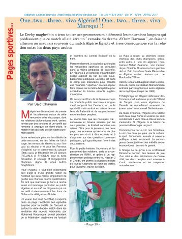 Pages sportives... - Maghreb Canada