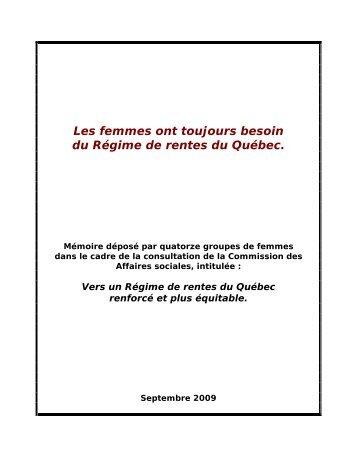 Les femmes ont toujours besoin du Régime de rentes du Québec.