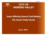 Increased Demands on GF Reserves - Moreno Valley