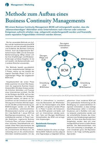 Methode zum Aufbau eines Business Continuity Managements