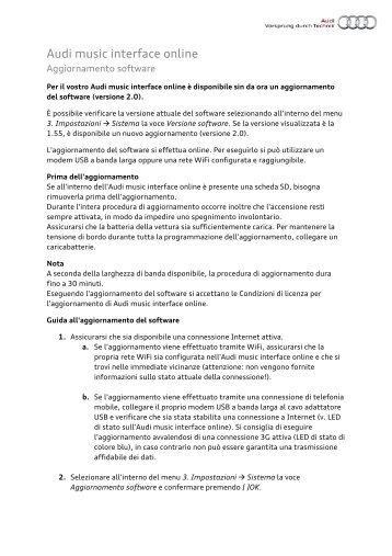 Guida all'aggiornamento - PDF - Audi