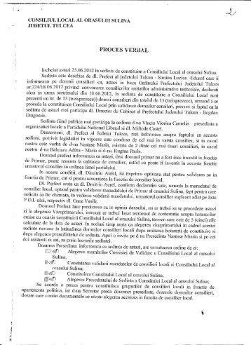 Proces verbal al şedinţei de constituire a ... - Primaria Sulina