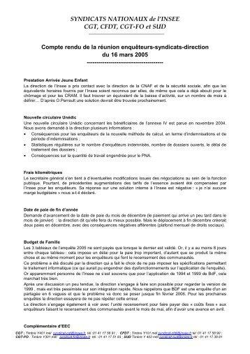 CR de la réunion du 16 mars 2005 - cgt-insee