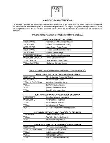 elecciones colegiales 1999 - Colegio Oficial de Arquitectos Vasco ...