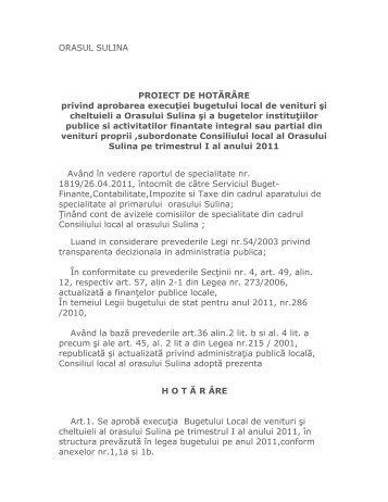 Proiect de hotarare privind aprobarea executiei ... - Primaria Sulina