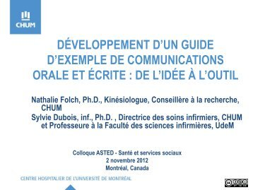 Développement d'un guide d'exemple de communications orale et ...