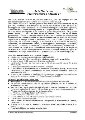 De la Charte pour l'Environnement à l'Agenda 21 - Ville de Gap