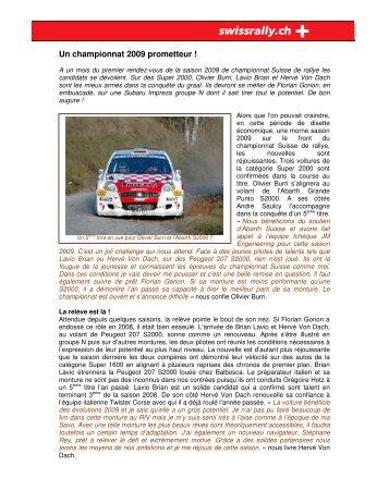Suite de l'article - Championnat suisse des rallyes