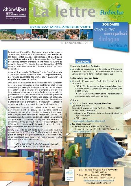 Lettre d'info n° 12 Ardèche verte & cahier spécial Economie Sociale ...