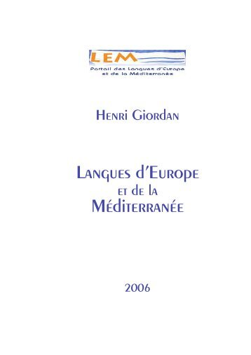 Langues d'Europe Méditerranée - Langues d'Europe et de la ...