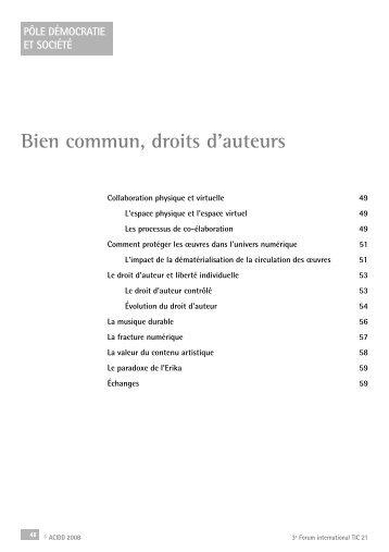 Bien commun, droits d'auteurs - Pôle Démocratie et société - Acidd