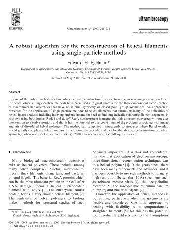 A robust algorithm for the reconstruction of helical filaments using ...