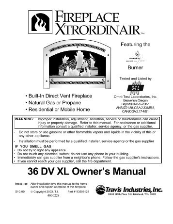 36 DV XL Owner's Manual - Travis Industries Dealer Services Login ...