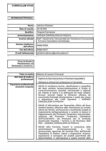 curriculum vitae - Azienda Ospedaliera di Padova