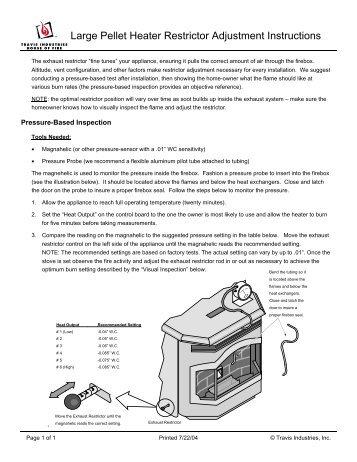 Large Pellet Heater Restrictor Adjustment Instructions - Travis ...