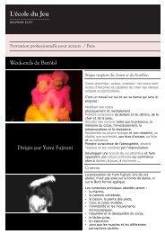 Week-ends de Butô(s) Dirigés par Yumi Fujitani - Ecole du jeu