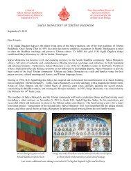 2013 Fundraising Letter - the Sakya Monastery of Tibetan Buddhism