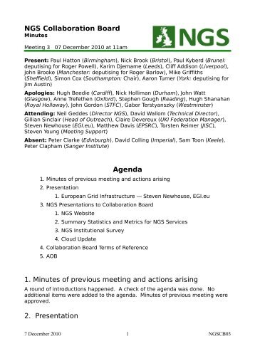 NGS Collaboration Board Agenda 1. Minutes of previous meeting ...