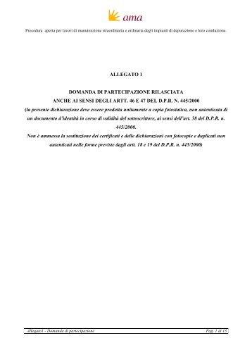Allegato 1 Fac simile Domanda di partecipazione - Ama