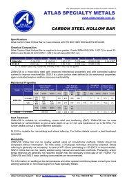 Datasheet (156 kb) - Atlas Steels