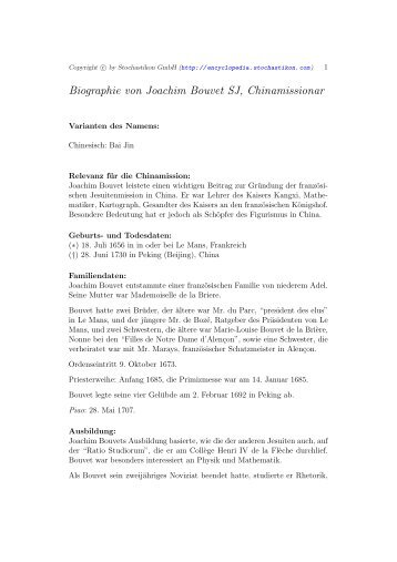 Biographie von Joachim Bouvet SJ, Chinamissionar