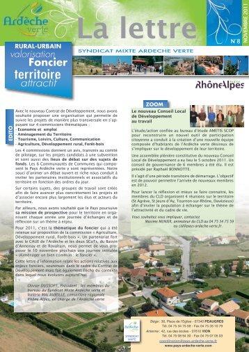 Lettre d'info n° 8 Ardèche verte & cahier spécial foncier - nov 2011