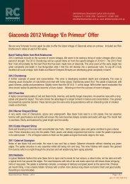 Giaconda 2012 Vintage - Rathdowne Cellars