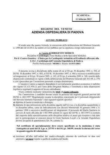 cliccare per scaricare bando - Azienda Ospedaliera di Padova