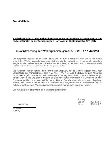 Fachschaftsrat Fakultät V - Hochschule Hannover