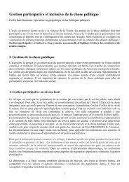 Gestion participative et inclusive de la chose publique