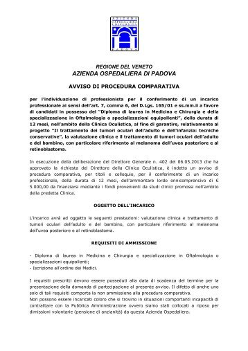 Avviso di procedura comparativa - Azienda Ospedaliera di Padova