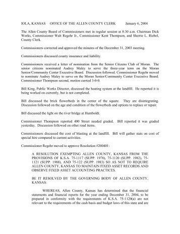 IOLA, KANSAS OFFICE OF THE ALLEN COUNTY CLERK January 6 ...