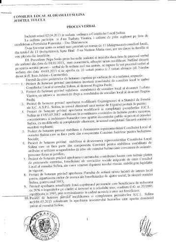 Proces verbal al şedinţei ordinare a Consiliului ... - Primaria Sulina