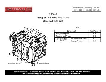 SPL83237, S200 Service Parts List - Waterous