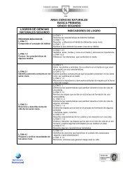 area ciencias naturales basica primaria grado segundo logros de ...