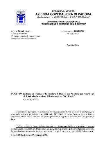 lettera invito oltre 20 - Azienda Ospedaliera di Padova