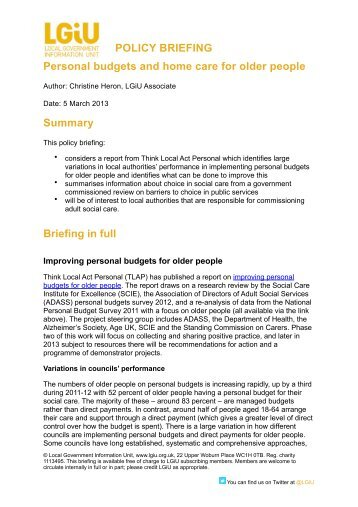 Personal budgets and choice in adult social care - LGiU