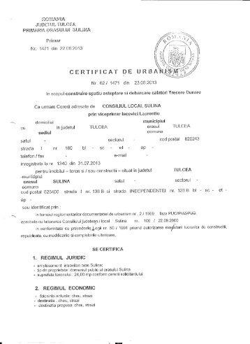 Certificatul de urbanism... - Primaria Sulina
