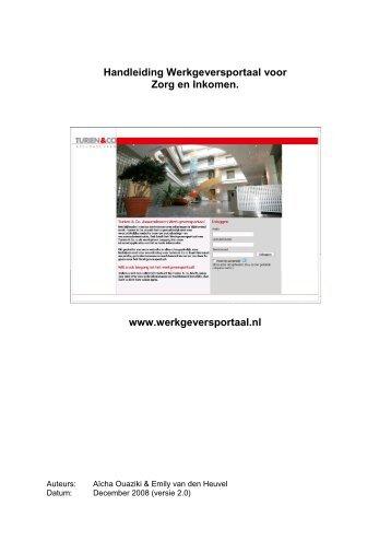 Handleiding Werkgeversportaal voor Zorg en Inkomen - mijnturien.nl
