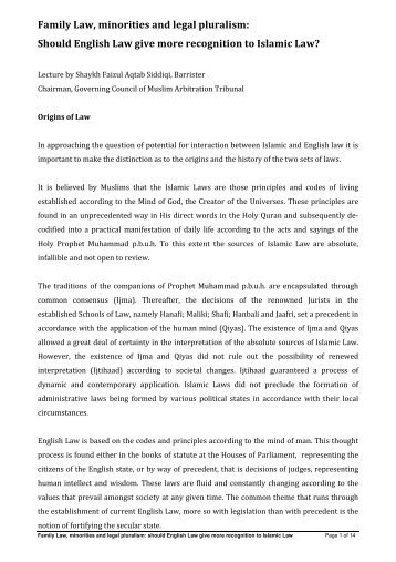 Family Law, minorities and legal pluralism ... - Wynne Chambers