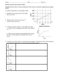 Force and Motion Review Sheet