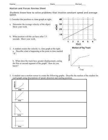 Force and motion review answers