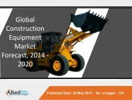 Global Construction Equipment Market Analysis, Size, Share, Growth, Trends and Forecast 2014 - 2020