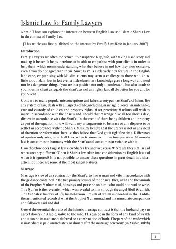FLJ – Islamic Family Law - Wynne Chambers